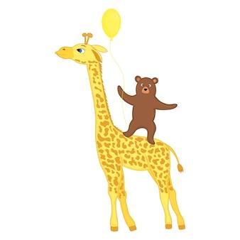 Giraffa con orso e palloncino, grafica vettoriale.