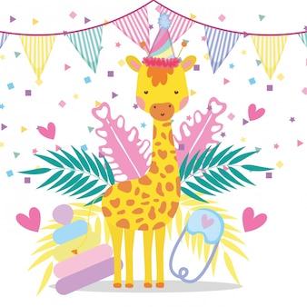 Giraffa con festa bannner per baby shower celebrazione