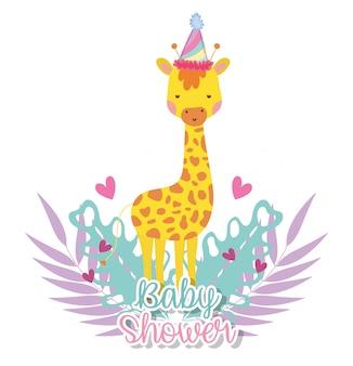 Giraffa con cappello da festa per celebrare la baby shower