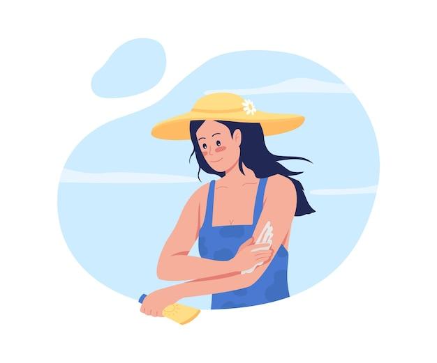 Ragazza che applica la crema solare sulle armi 2d isolate. routine per la cura della pelle. giovane donna in personaggio piatto cappello di paglia sul cartone animato. trascorrere del tempo in spiaggia