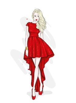 Ragazza in un bellissimo abito da sera. illustrazione di moda.