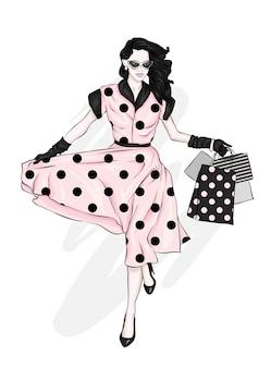 Una ragazza in un bellissimo abito vintage con borse della spesa. illustrazione.