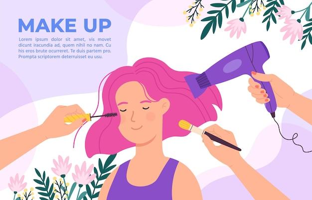 Ragazza nel salone di bellezza. mani di truccatore e parrucchiere con pennello, mascara e asciugacapelli. prodotti cosmetici, concetto di vettore di poster per la cura dei capelli. salone di illustrazione bellezza, trucco e barbiere