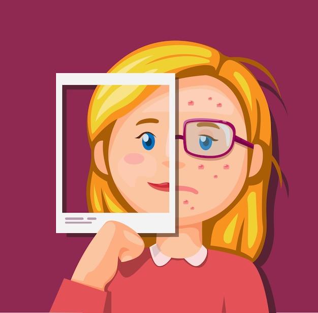Bellezza della ragazza e brutto confronto nella foto o nel concetto di illustrazione di media sociali nel fumetto