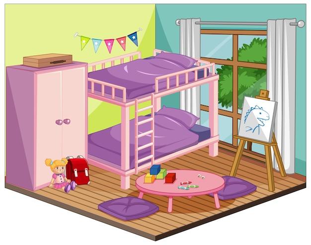Interno camera da letto ragazza con mobili ed elementi decorativi in tema rosa