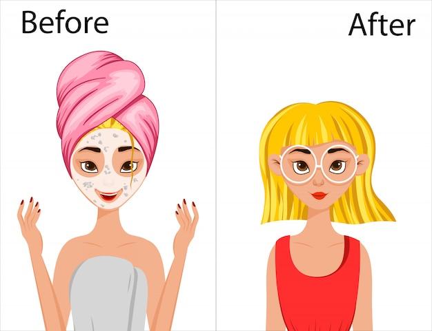 Ragazza prima e dopo lo styling dei capelli. stile cartone animato. illustrazione.