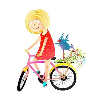 Estate felice della bicicletta di guida dell'uccellino e della ragazza
