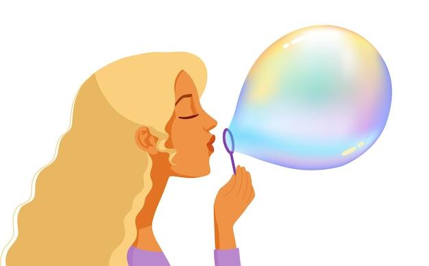 Ragazza che soffia bolle di sapone colorato fumetto illustrazione profilo ritratto
