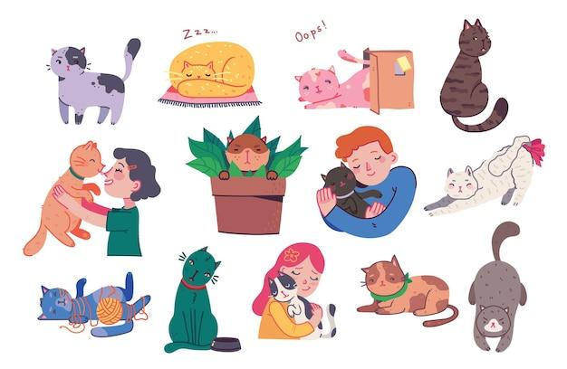 Ragazza e ragazzo che abbracciano i gatti giovani con animali domestici in stile piatto