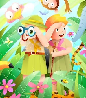 Girl and boy scout kids in un'avventura nella giungla africana, piccoli esploratori escursioni in spedizione Vettore Premium