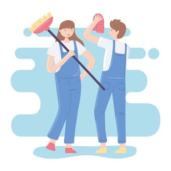 Ragazza e ragazzo pulire