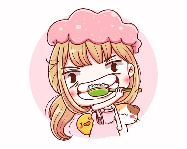 Ragazza che lava i denti o cure odontoiatriche e design dei personaggi dei cartoni animati.