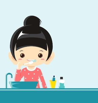 Una ragazza lavarsi i denti illustrazione