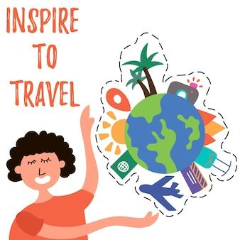 La ragazza chiama viaggiare per il mondo turismo di massa ispirare il viaggio