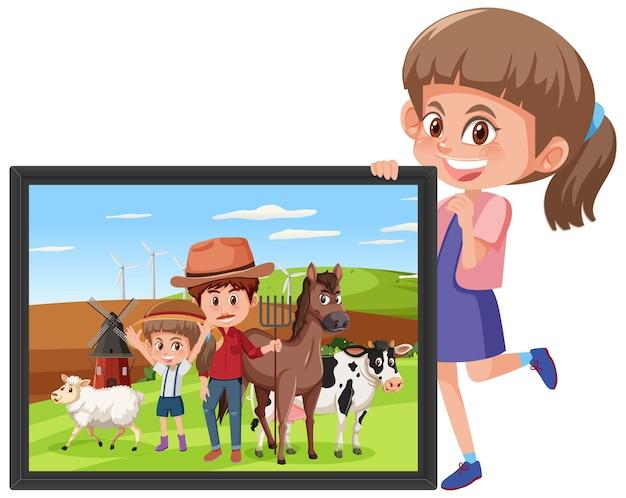 Un personaggio dei cartoni animati di una ragazza con in mano una foto di una ragazza nella fattoria con suo padre