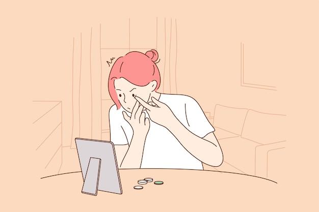 Personaggio dei cartoni animati ragazza con lenti a contatto seduto occhi gonfi