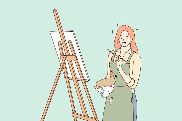 Personaggio dei cartoni animati ragazza lavora con il pennello disegna dipinti