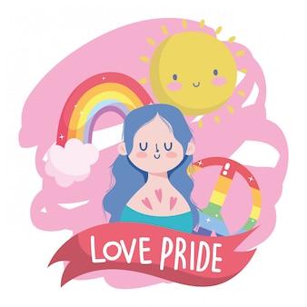 Il fumetto della ragazza con lgtbi ama la pace e la progettazione di vettore dell'arcobaleno