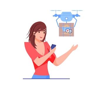 Il personaggio della ragazza riceve gli acquisti di ordini online dal drone di consegna