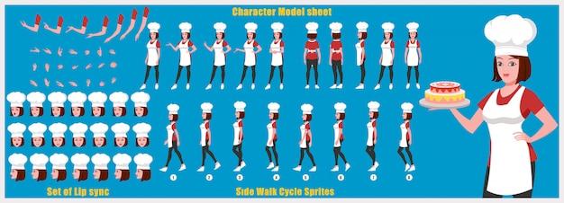 Foglio di modello girl chef character con animazioni del ciclo di camminata e sincronizzazione labiale