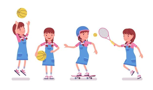 Bambina da 7 a 9 anni, attività sportiva per bambini in età scolare femminile