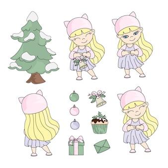 Natale della ragazza fissa l'illustrazione di colore del nuovo anno
