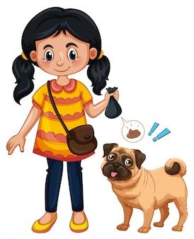 Una ragazza che pulisce la cacca del cane