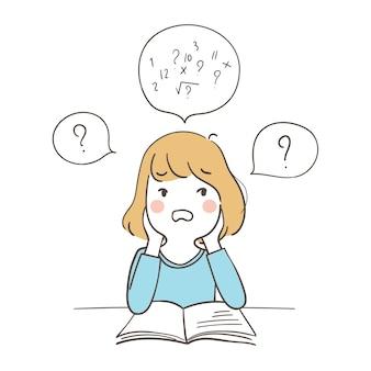 Una ragazza confusa sulla matematica
