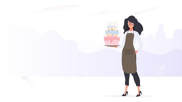 Il cuoco della ragazza tiene una torta di compleanno. la ragazza tiene una torta. buono per articoli di compleanno e banner. vettore.
