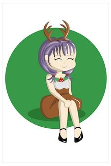 La ragazza con il vestito da cervo seduta