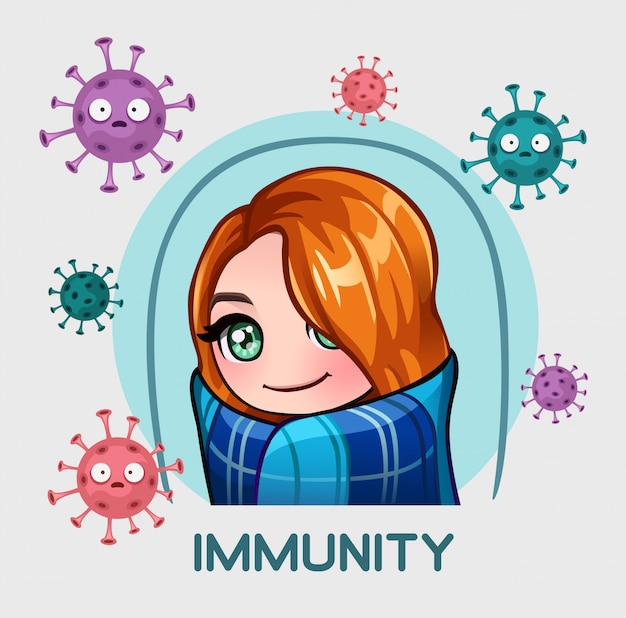 Ragazza in difesa dell'immunità Vettore Premium