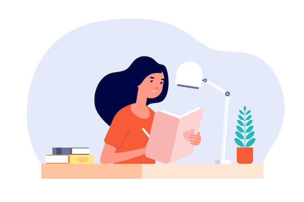 Diario della ragazza. la donna scrive il diario.