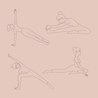 Ragazza in diverse pose yoga in stile linea
