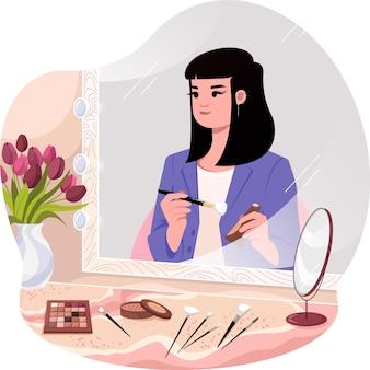 Una ragazza che fa l'illustrazione del trucco