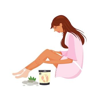 Ragazza che fa la cura dei piedi della stazione termale. idratare la pelle con una maschera per i piedi. procedura di cosmetologia per le donne. vettore moderno
