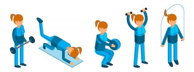 Ragazza facendo esercizi sportivi. caratteri di fitness donna su sfondo bianco