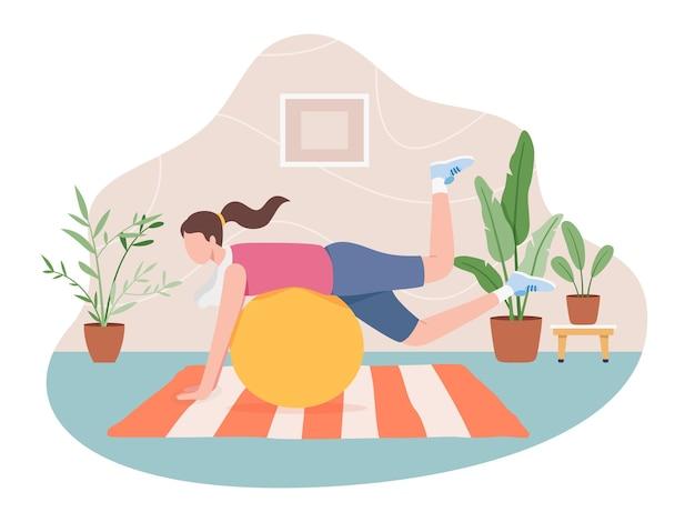 Ragazza che fa sport indoor, stile di vita sano attivo.