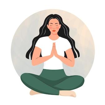 Ragazza che fa yoga. asana. illustrazione vettoriale in stile boho cartone animato.