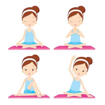 Ragazza che fa esercizio di yoga, attività per un sano