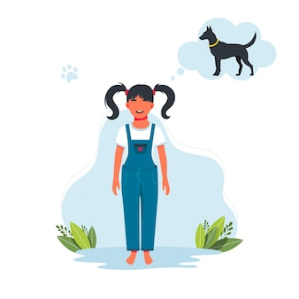 La ragazza sogna un cane. il bambino desidera ricevere in regalo un animale domestico. personaggio di una bambina sorridente felice. illustrazione vettoriale di espressione bambino bambino. illustrazione vettoriale