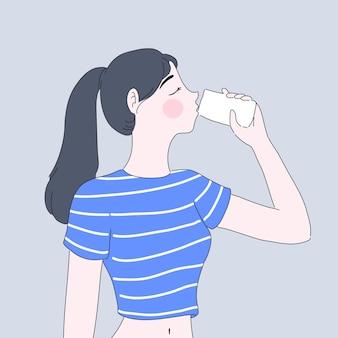 Ragazza bere acqua illustrazione