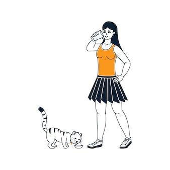 Ragazza che beve latte con illustrazione di gatti su sfondo bianco