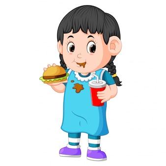 Ragazza, mangiare, fast food