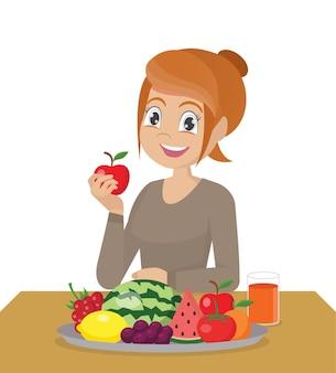 Ragazza che mangia frutta fresca e sana