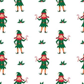 L'elfo della ragazza con le trecce tiene un lecca-lecca in mano. modello senza cuciture di natale e capodanno.