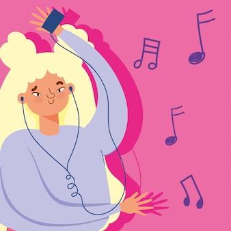 Ragazza che gode e che ascolta la musica con l'illustrazione delle cuffie