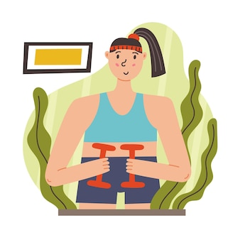 Esercizi per ragazze con manubri. mattina routine quotidiana. illustrazione piana di vettore moderno