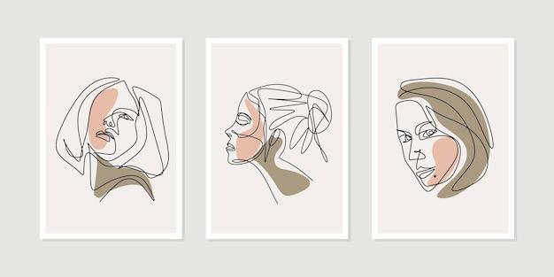 Girl face una linea di disegno artistico con set di poster di bellezza donna
