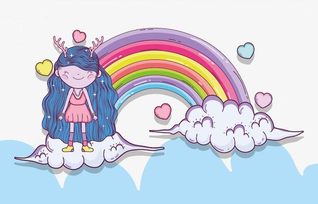 Ragazza fantastica creatura tra le nuvole con arcobaleno