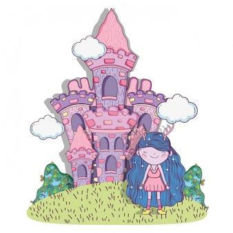 Ragazza fantastica creatura con castello e cespugli